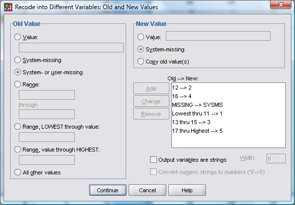 Recode missing values spss